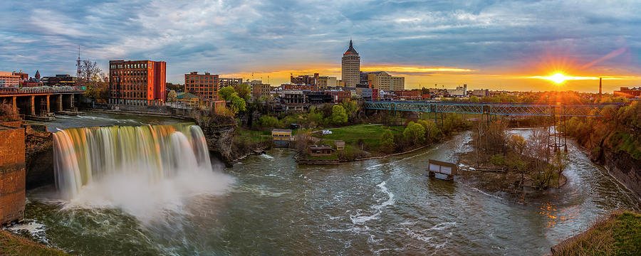 High Falls Rochester Ny at Sunset by Mark Papke
