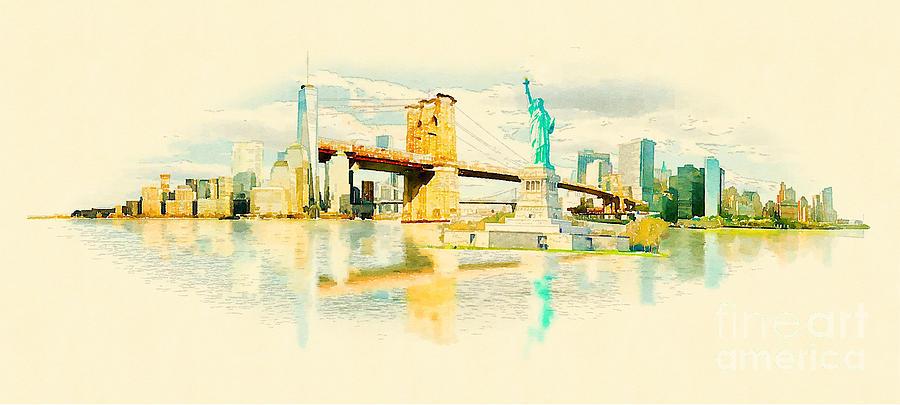 Usa Digital Art - High Resolution Panoramic Water Color by Trentemoller