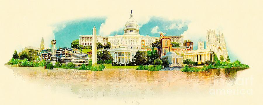 Capital Digital Art - High Resolution Panoramic Watercolor by Trentemoller