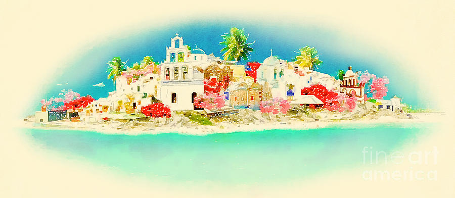 Cyclades Digital Art - High Resolution Water Color Panoramic by Trentemoller