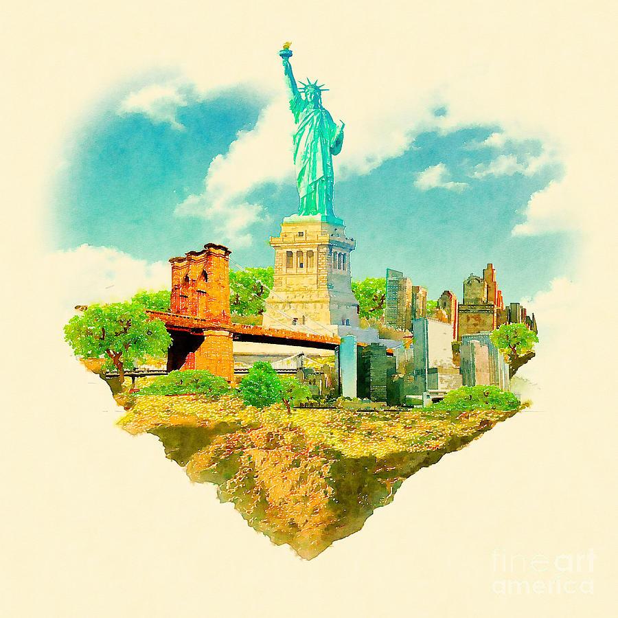Usa Digital Art - High Resolution Watercolor Illustration by Trentemoller