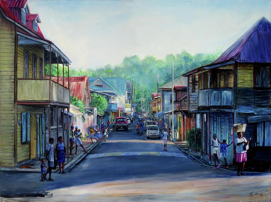 Saint Lucia Painting - High Street 2006 by Jonathan Gladding