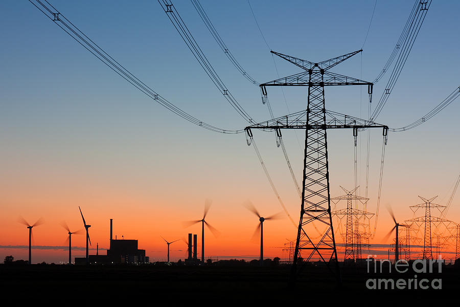 Dusk Photograph - High Voltage Power Lines With by Thorsten Schier