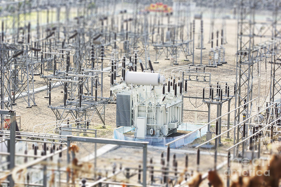 Line Photograph - High Voltage Power Transformer by Beebrain