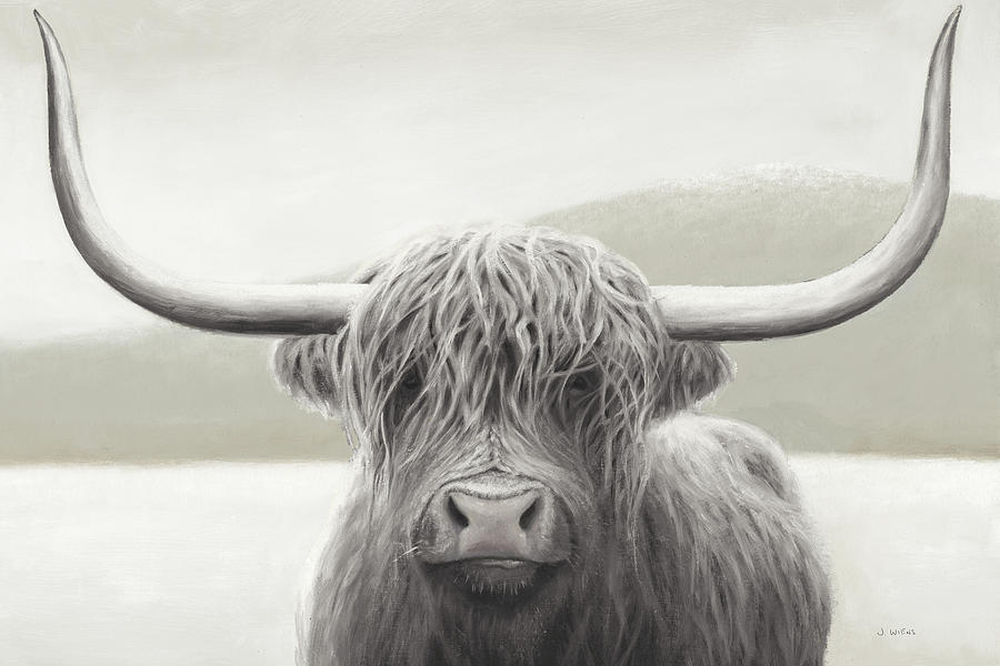 Animals Painting - Highland Cow Neutral by James Wiens