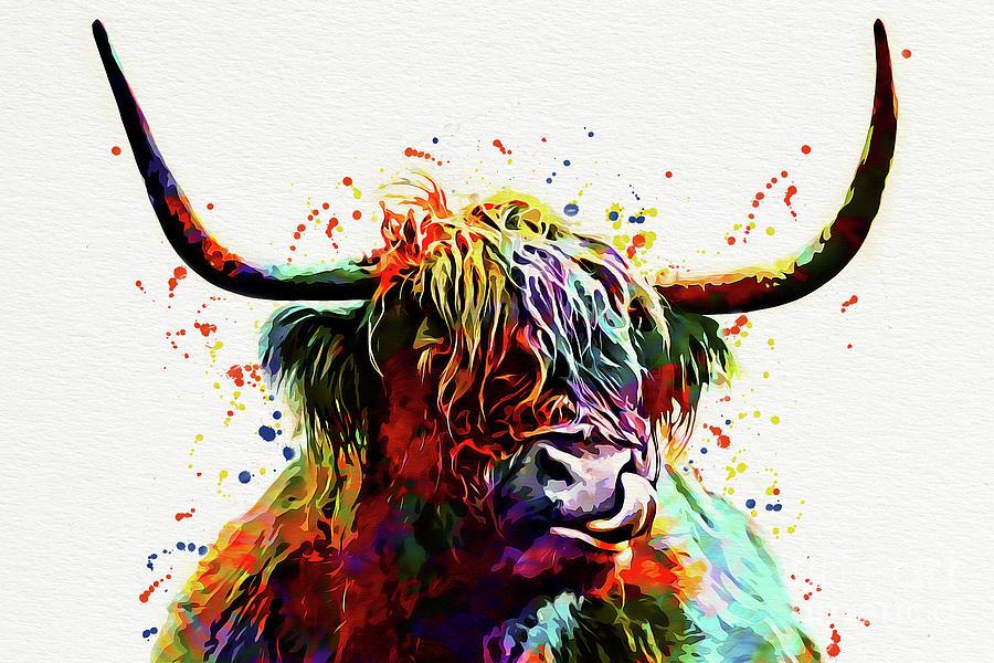 Highland Cow Watercolor Art Print Painting By Nikolay Radkov