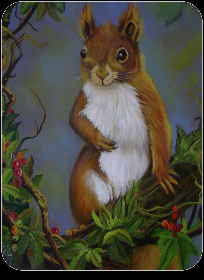 Wildlife Painting - Highland Squirrel by Janet Silkoff