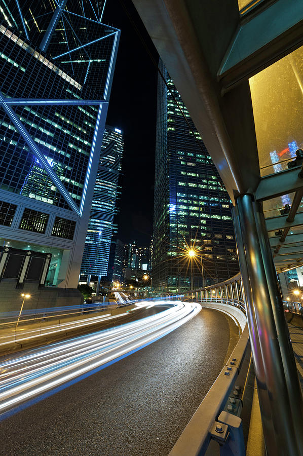 Highrise Super Highway Neon Night Photograph by Fotovoyager