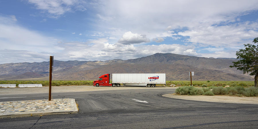 Highway 395, Rest Stop, Semi by Andy Romanoff