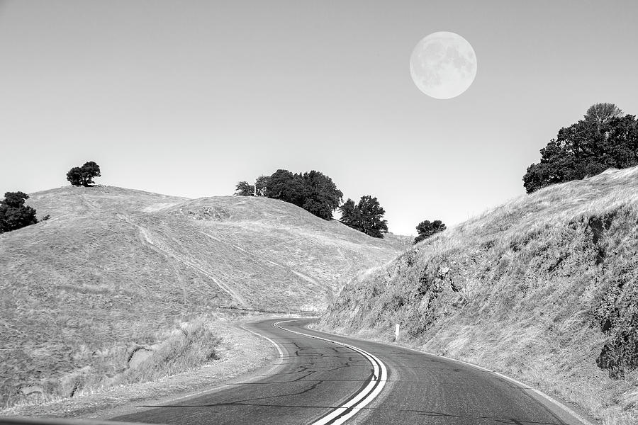 California Photograph - Highway One Mendocino County Moon by Betsy Knapp
