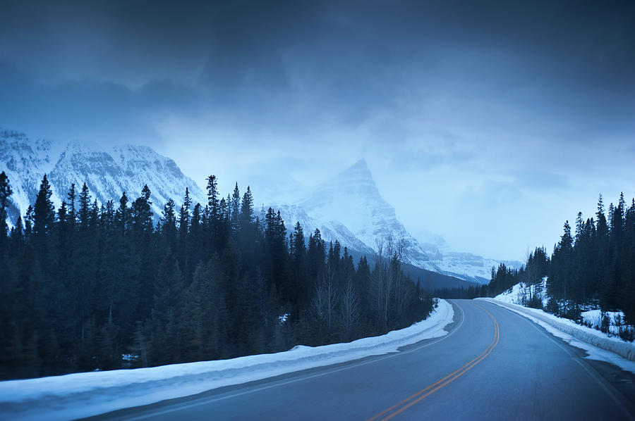 Highway Through The Canadian Rockies Photograph by Kjell Linder