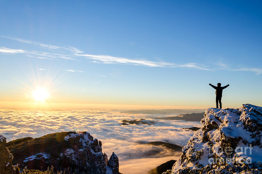 Achievement Photograph - Hiker Celebrating Success On Top Of A by Catalin Grigoriu