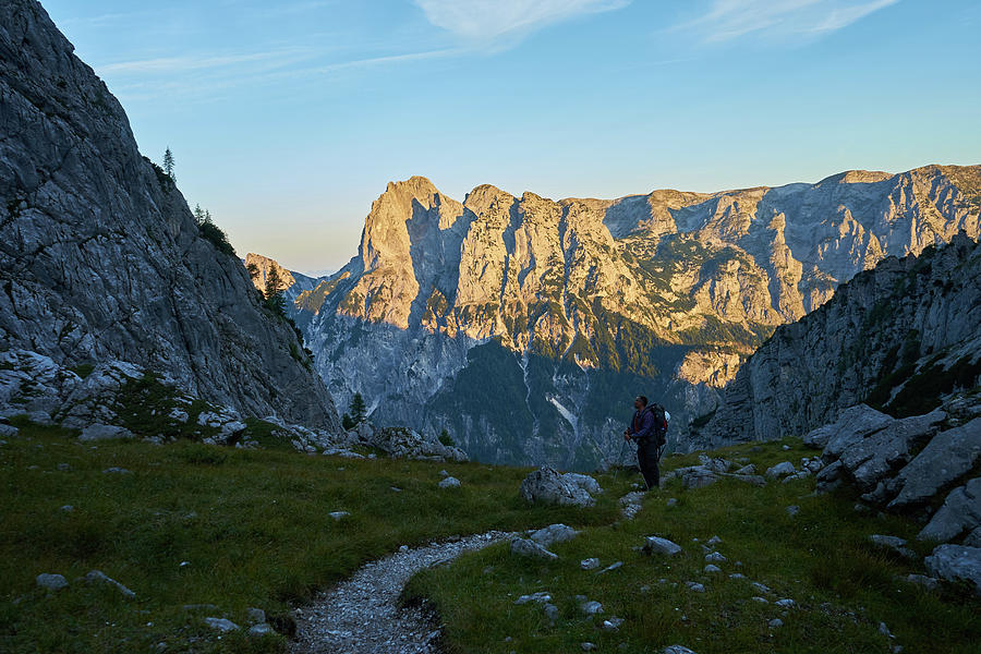 Adventure Photograph - Hiker In The Morning by Lukas Kerbs