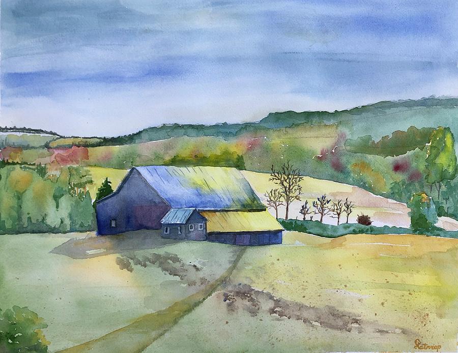 Hill Barn in Fall by Christine Lathrop