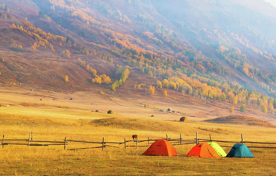 Hillside Camping In Hemu, Xinjiang China Photograph by Feng Wei Photography