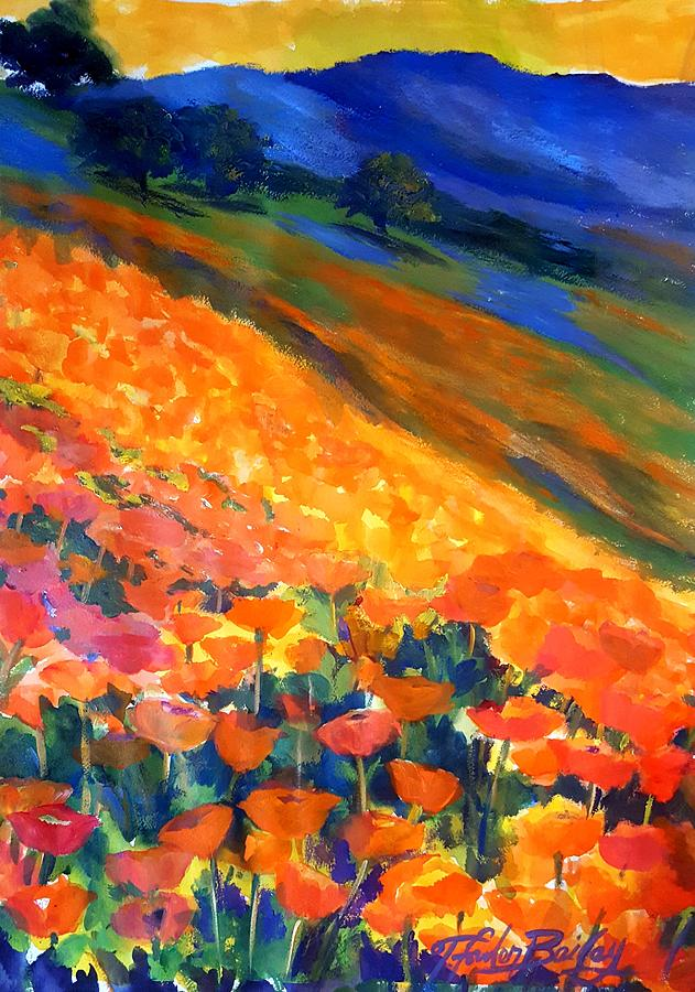 Poppies Painting - Hillside Poppy Burst by Therese Fowler-Bailey