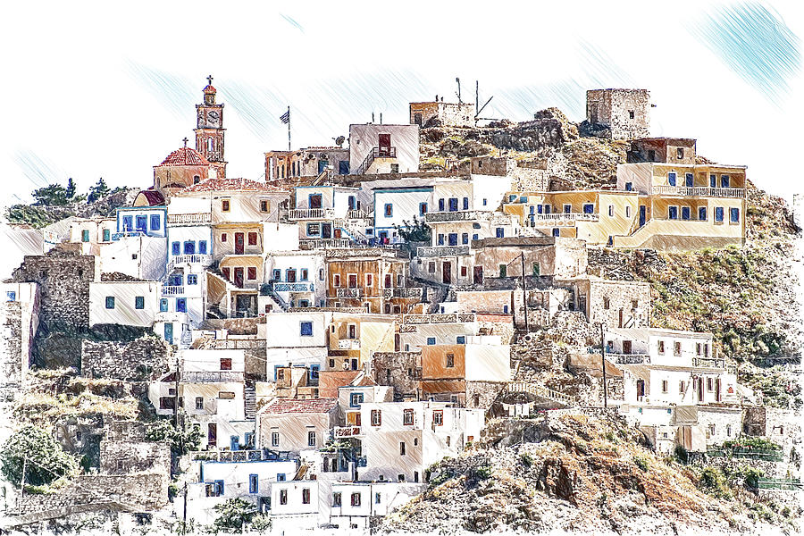 Hillside Village on Karpathos Island -DWP3384386 by Dean Wittle