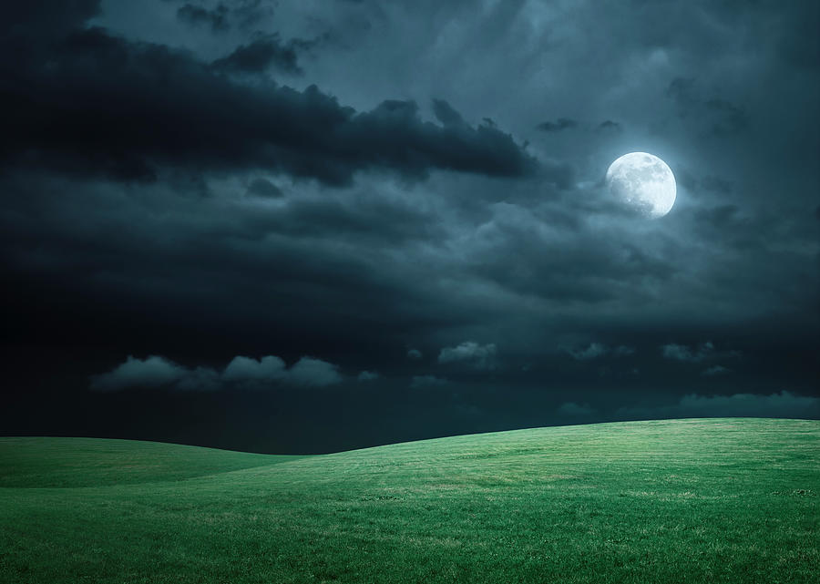 Hilly Meadow At Night With Full Moon Photograph by Spooh