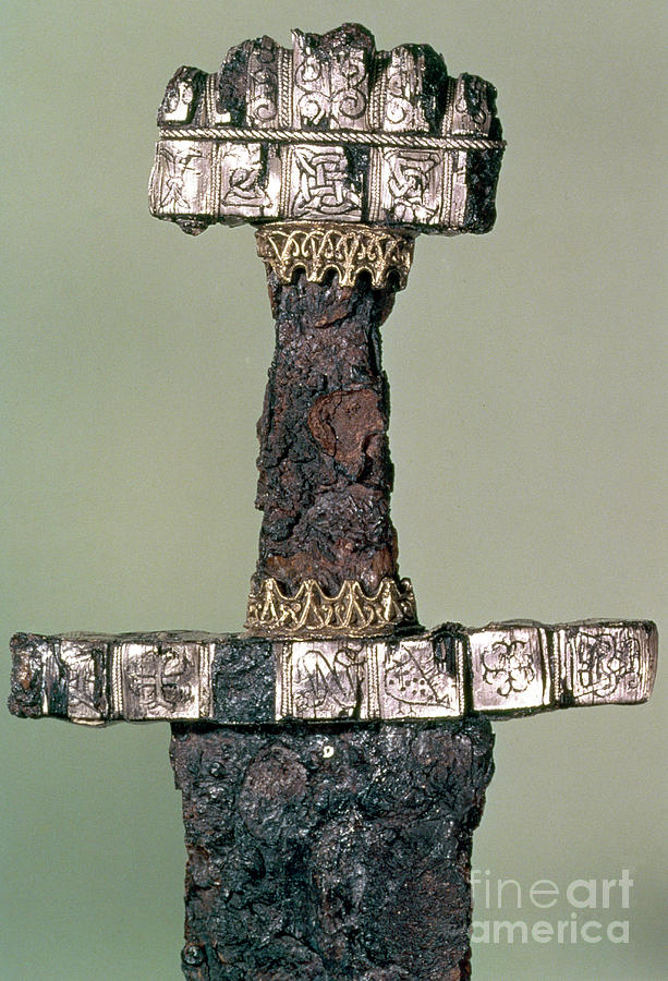 Weapon Photograph - Hilt Of A Viking Sword Found At Hedeby, Denmark, 9th Century by Danish School