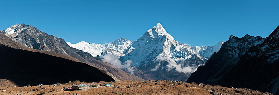 Scenic Photograph - Himalaya Snow Summits Remote Mountain by Fotovoyager
