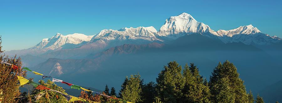 Himalayas Prayer Flags Dhaulagiri 8167m Photograph by Fotovoyager