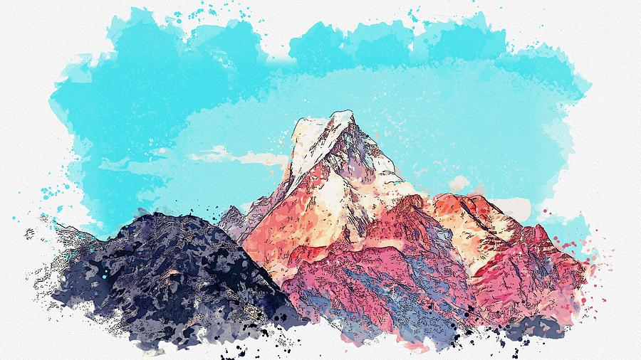 Himalayas -  watercolor by Adam Asar by Adam Asar
