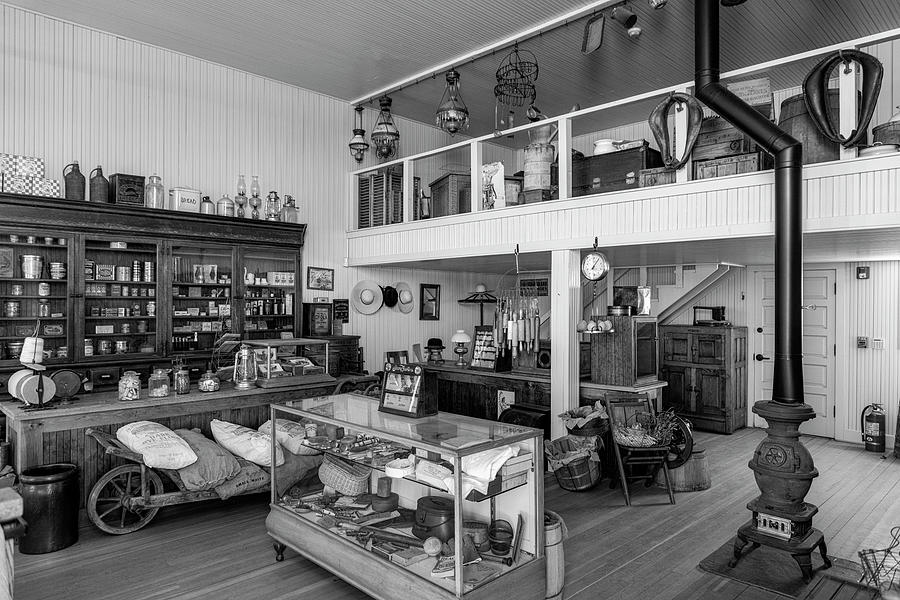General Store Photograph - Hindsman General Store - Allensworth State Park - Black And White by Gene Parks