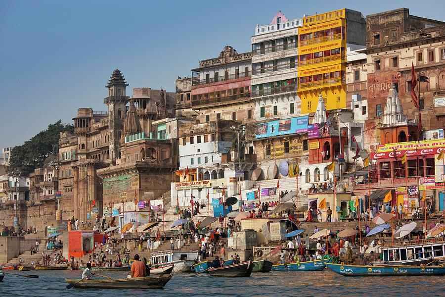 Hindu Pilgrims Bathe River Ganges Photograph by Tim Graham