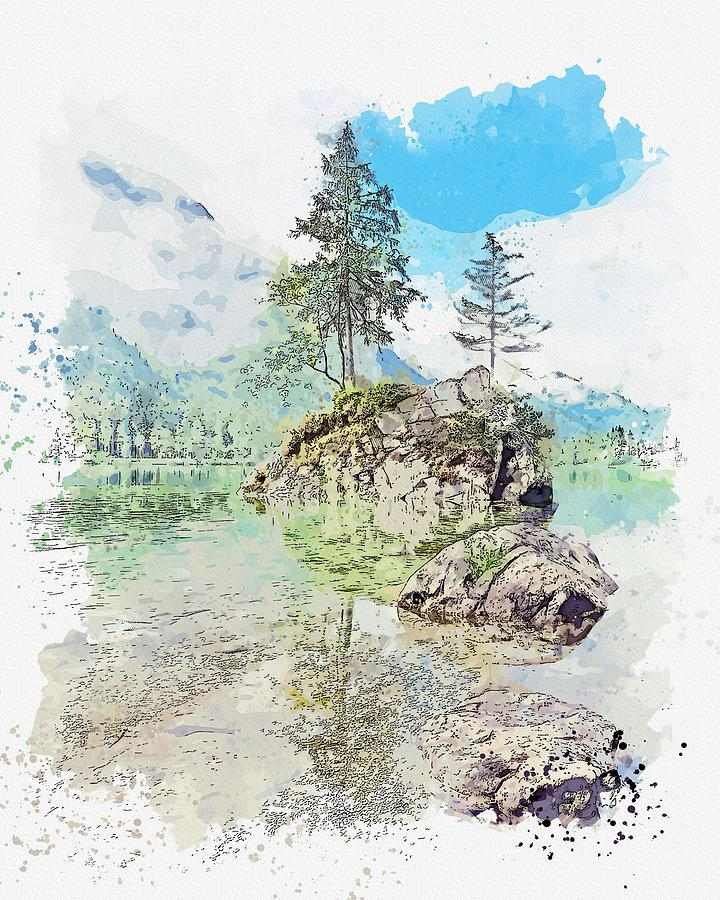 Hintersee, Ramsau bei Berchtesgaden, Germany -  watercolor by Adam Asar by Adam Asar