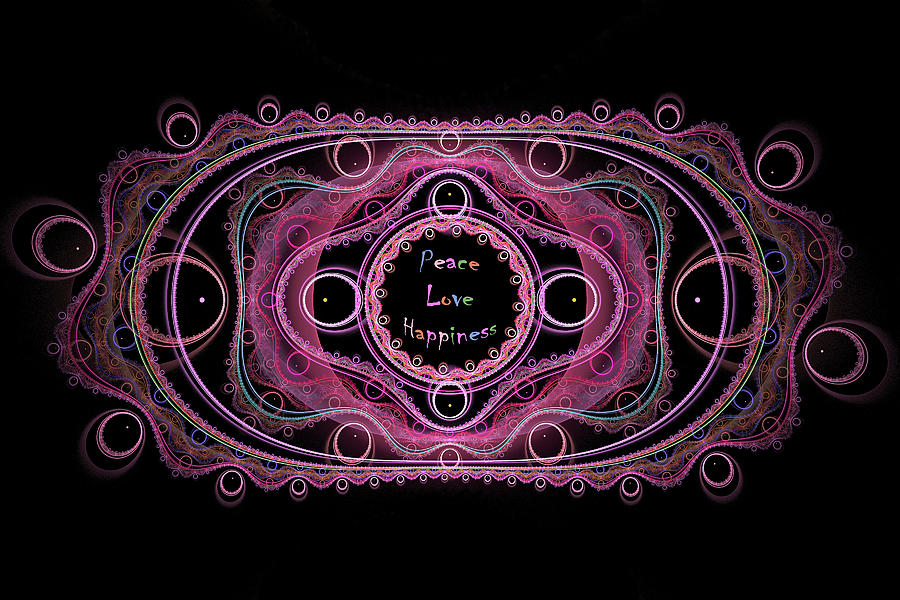 Lace Digital Art - Hippie Lace - Peace, Love, Happiness by Angie Tirado