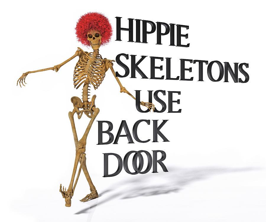 Human Digital Art - Hippie Skeletons Use Back Door by Betsy Knapp