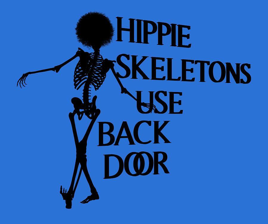 Human Digital Art - Hippie Skeletons Use Back Door Png by Betsy Knapp
