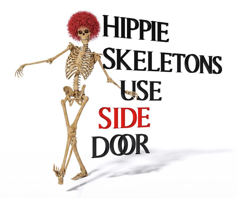 Human Digital Art - Hippie Skeletons Use Side Door by Betsy Knapp
