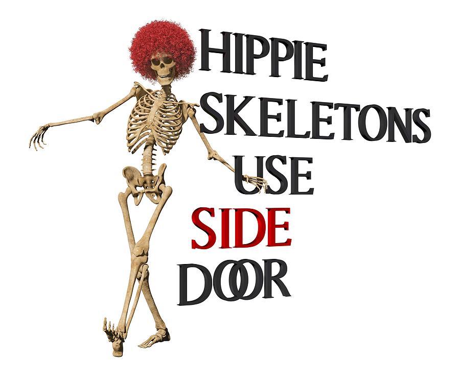 Skeleton Digital Art - Hippie Skeletons Use Side Door P N G by Betsy Knapp
