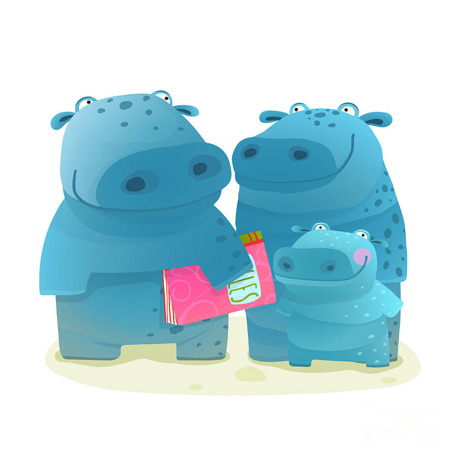 Pink Digital Art - Hippopotamus Family With Book. Mother by Popmarleo