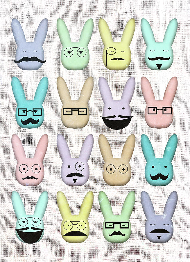 Hipster Digital Art - Hipster Bunnies by Sd Graphics Studio