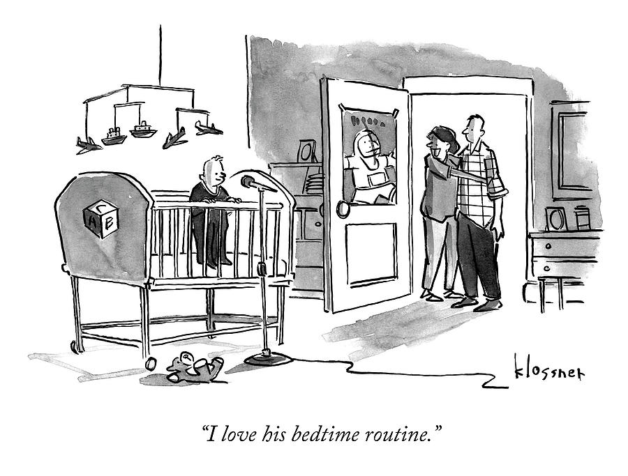 His Bedtime Routine Drawing by John Klossner