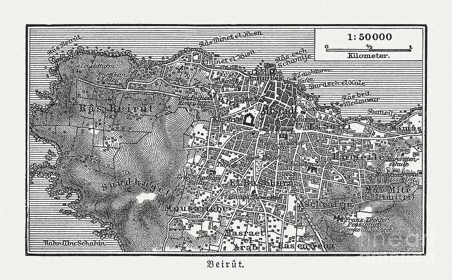 Historic City Map Of Beirut, Lebanon Digital Art by Zu 09