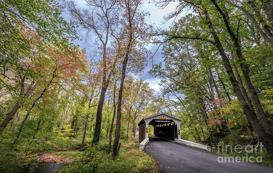 Historic Covered Bridge in rural Pennsylvania during Autumn by Patrick Wolf