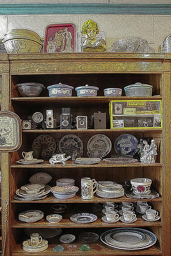 General Store Digital Art - Historic General Store Merchandise Dishes And Cameras by Marlin and Laura Hum