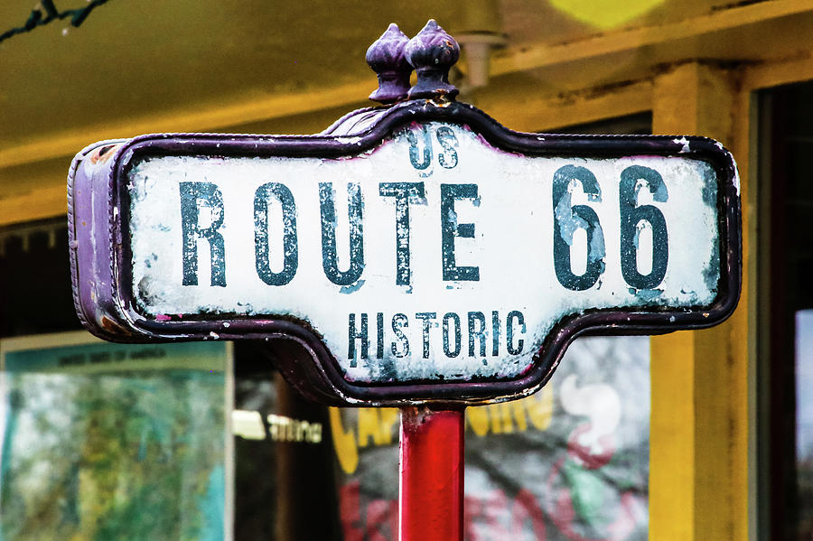 Sign Photograph - Historic Route 66 Sign by Laura Smith