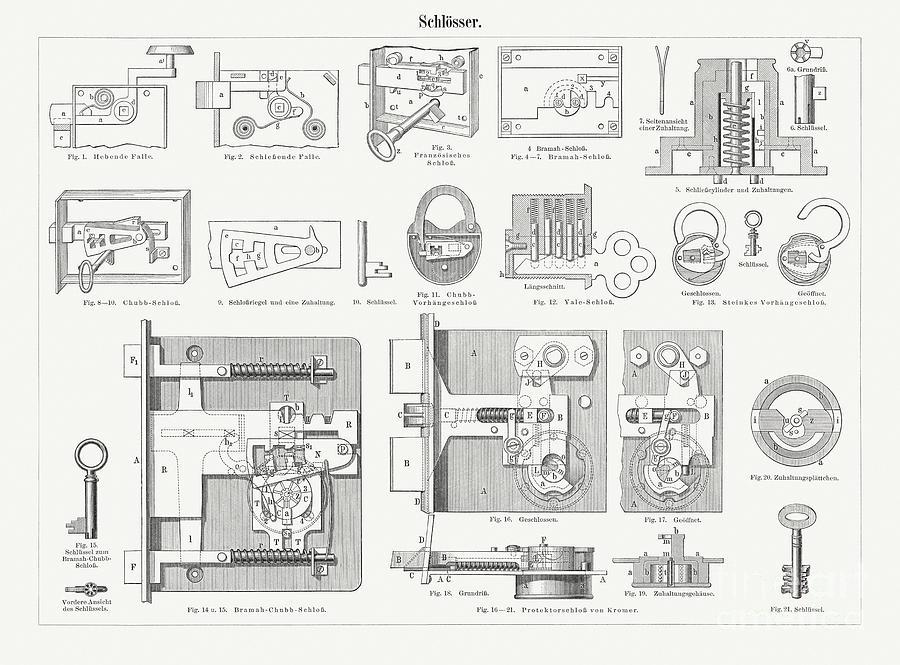 Historical Locks, Wood Engravings Digital Art by Zu 09