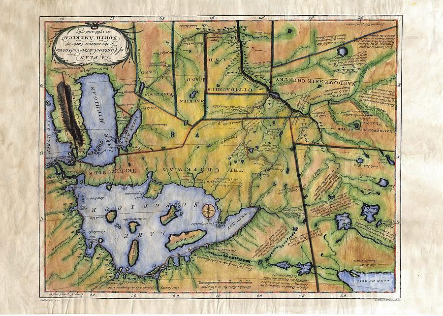 Historical Map Hand Painted Lake Superior Norhern Minnesota