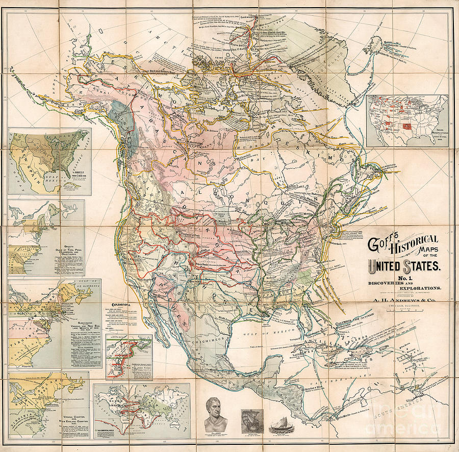 Historical Map Of The United States By Eugenia A. Wheeler Goff by Waldek  Dabrowski