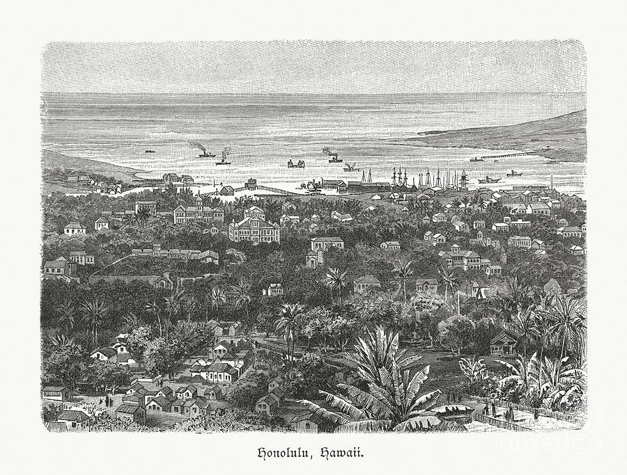 Historical View Of Honolulu, Hawaii Digital Art by Zu 09