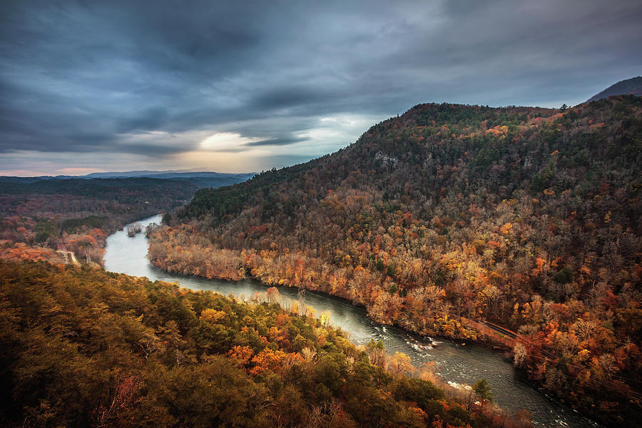 Hiwassee River Sunlight In Storm by Steven Llorca