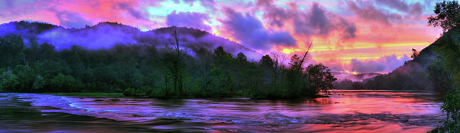 Hiwassee River Sunset Pano by Dennis Sprinkle