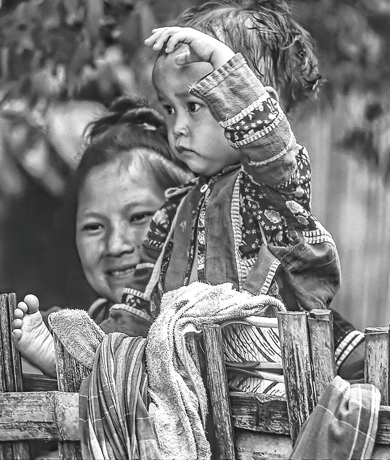 Hmong Mother And Child Bw Photograph