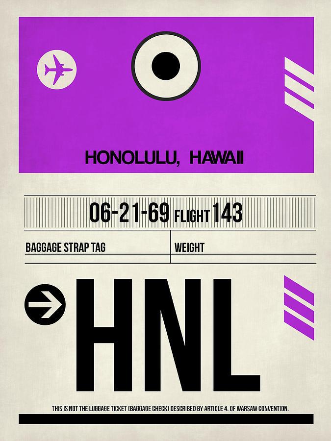 European Cities Digital Art - Hnl Honolulu Luggage Tag I by Naxart Studio