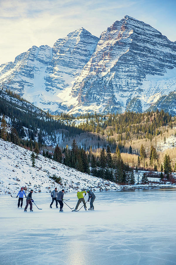 Hockey on Maroon Lake Maroon Bells Aspen Colorado by Nathan Bush